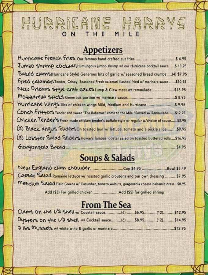menu for Hurricane Harry's On The Mile