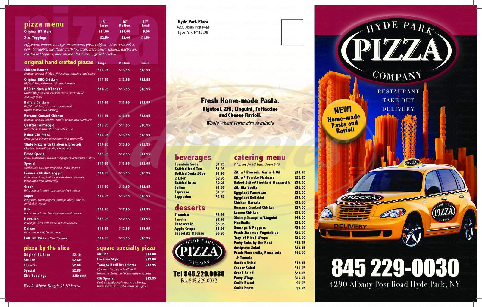 menu for Hyde Park Pizza