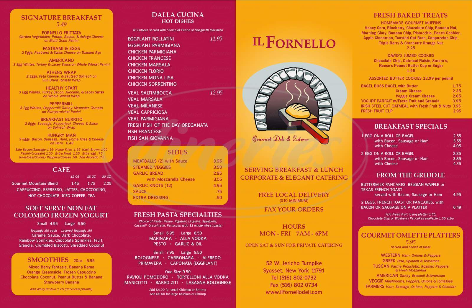 menu for IL Fornello Deli
