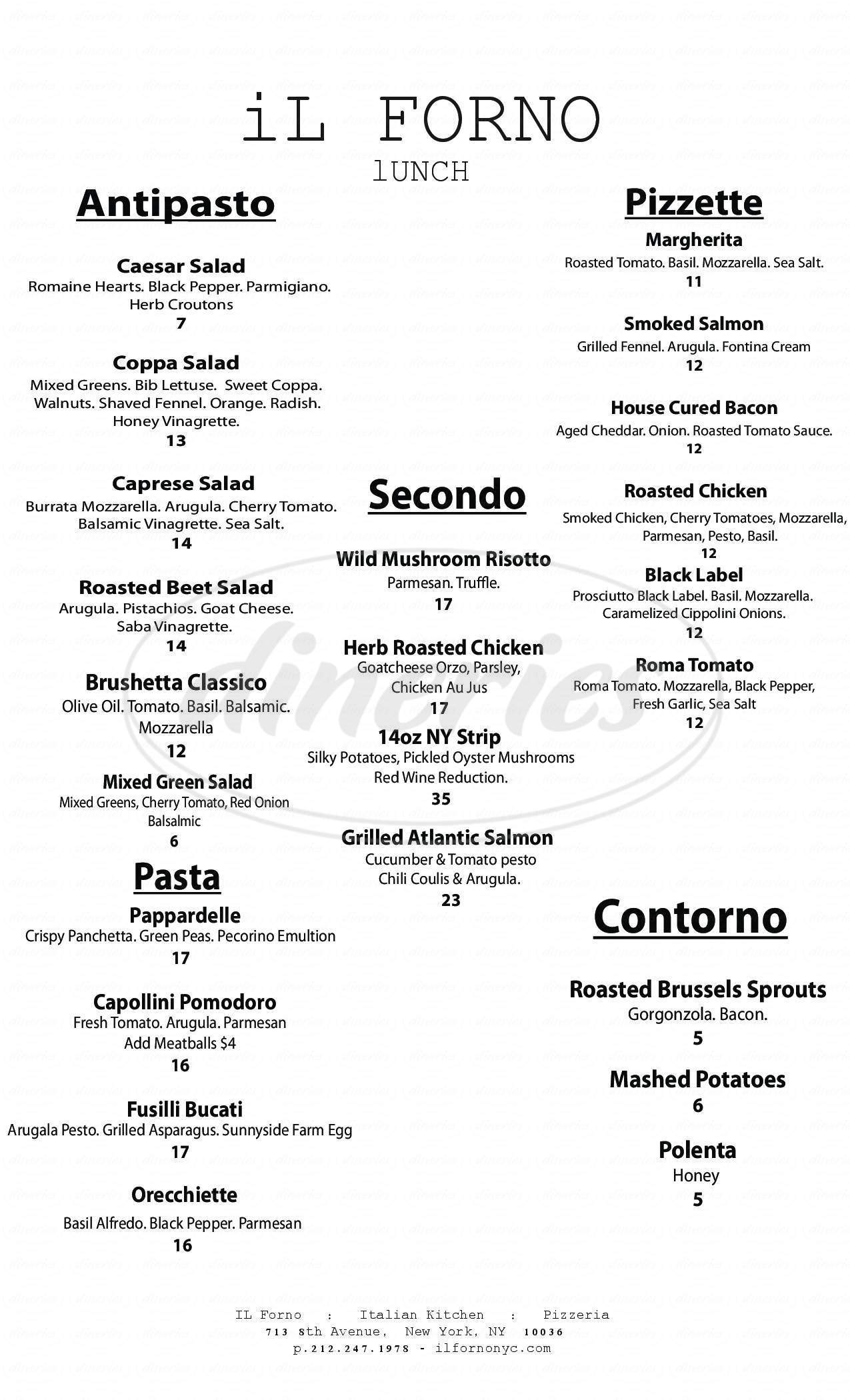 menu for Il Forno Hell's Kitchen