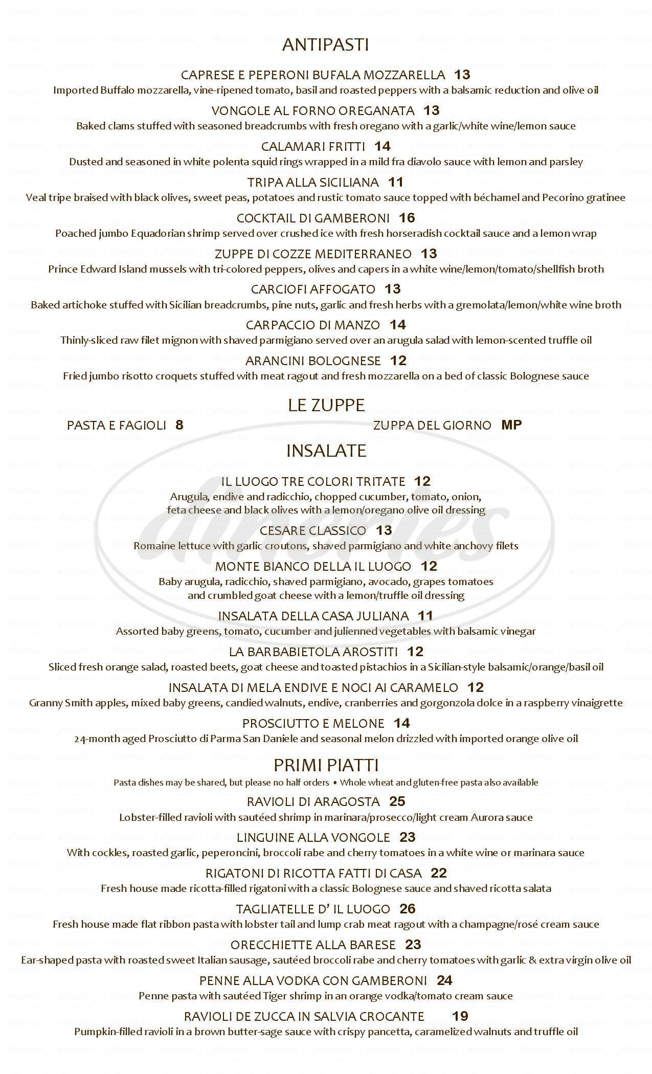 menu for Il Luogo