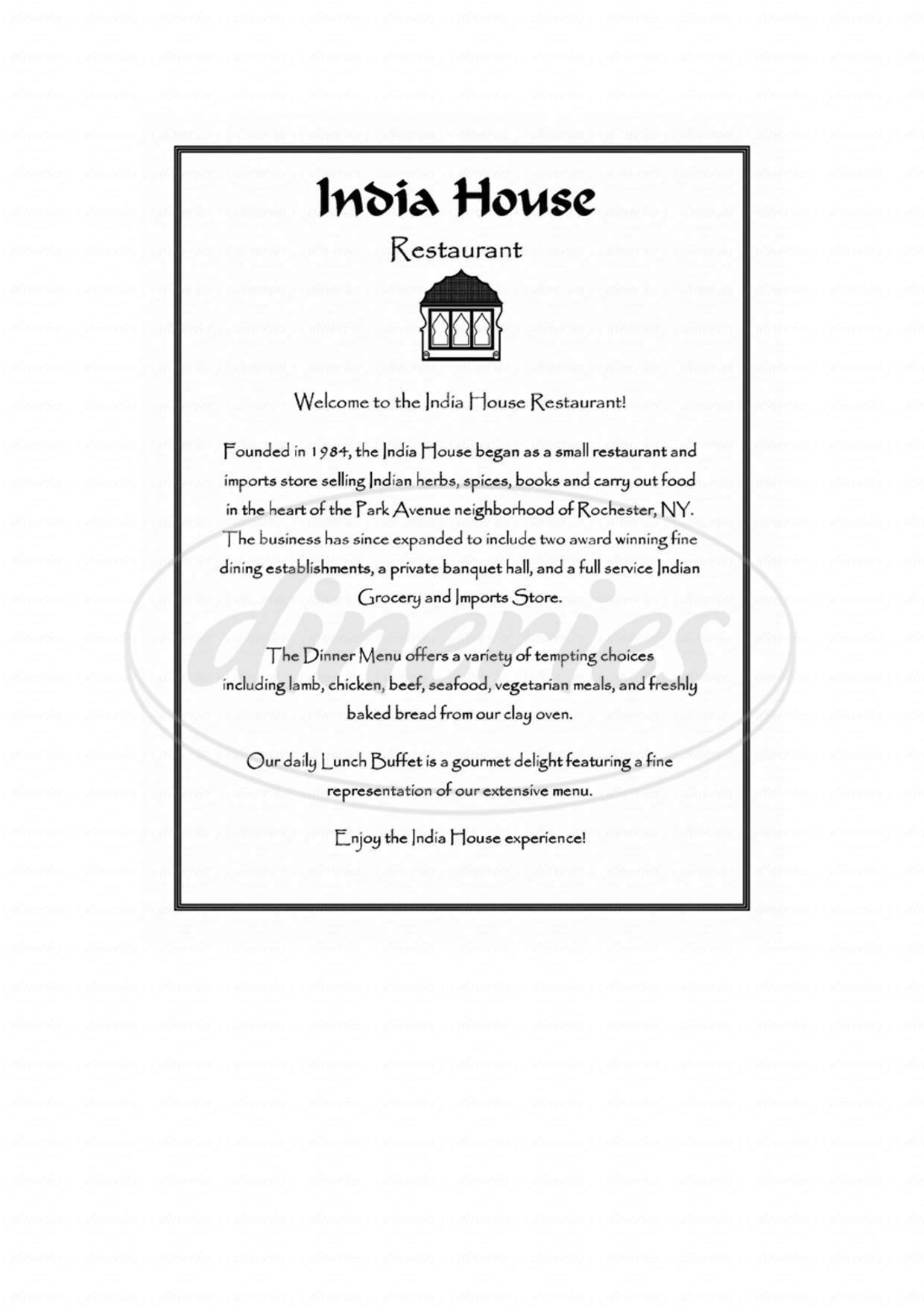 menu for India House