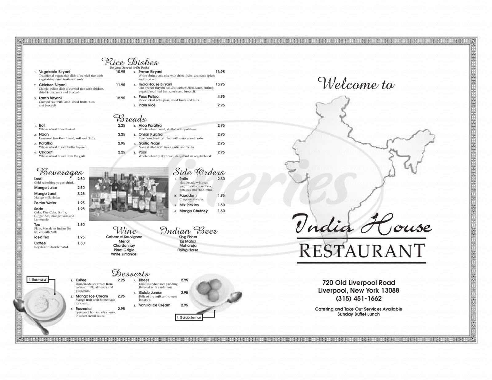 menu for India House Restaurant