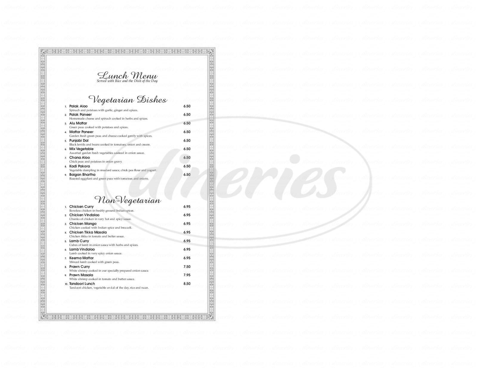 menu for India House Restaurant