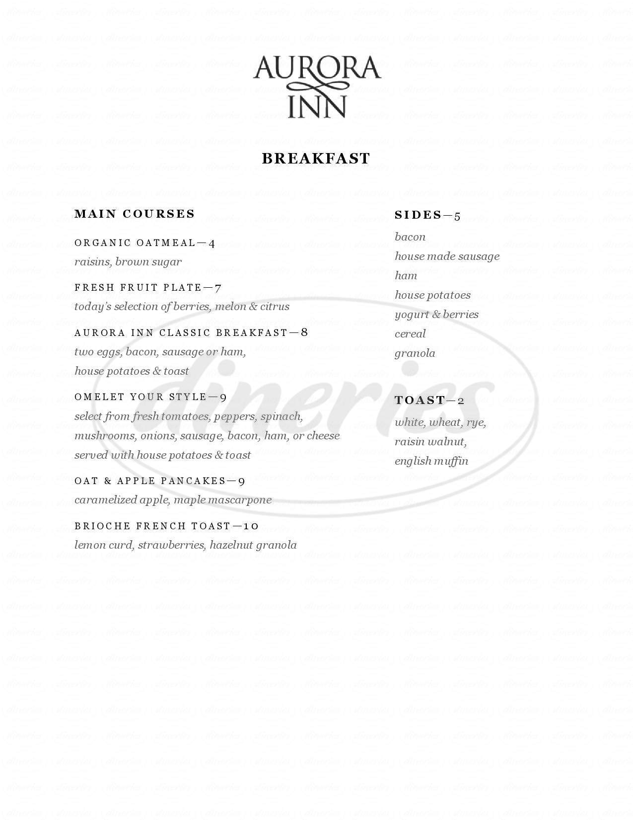 menu for Aurora Inn Dining Room