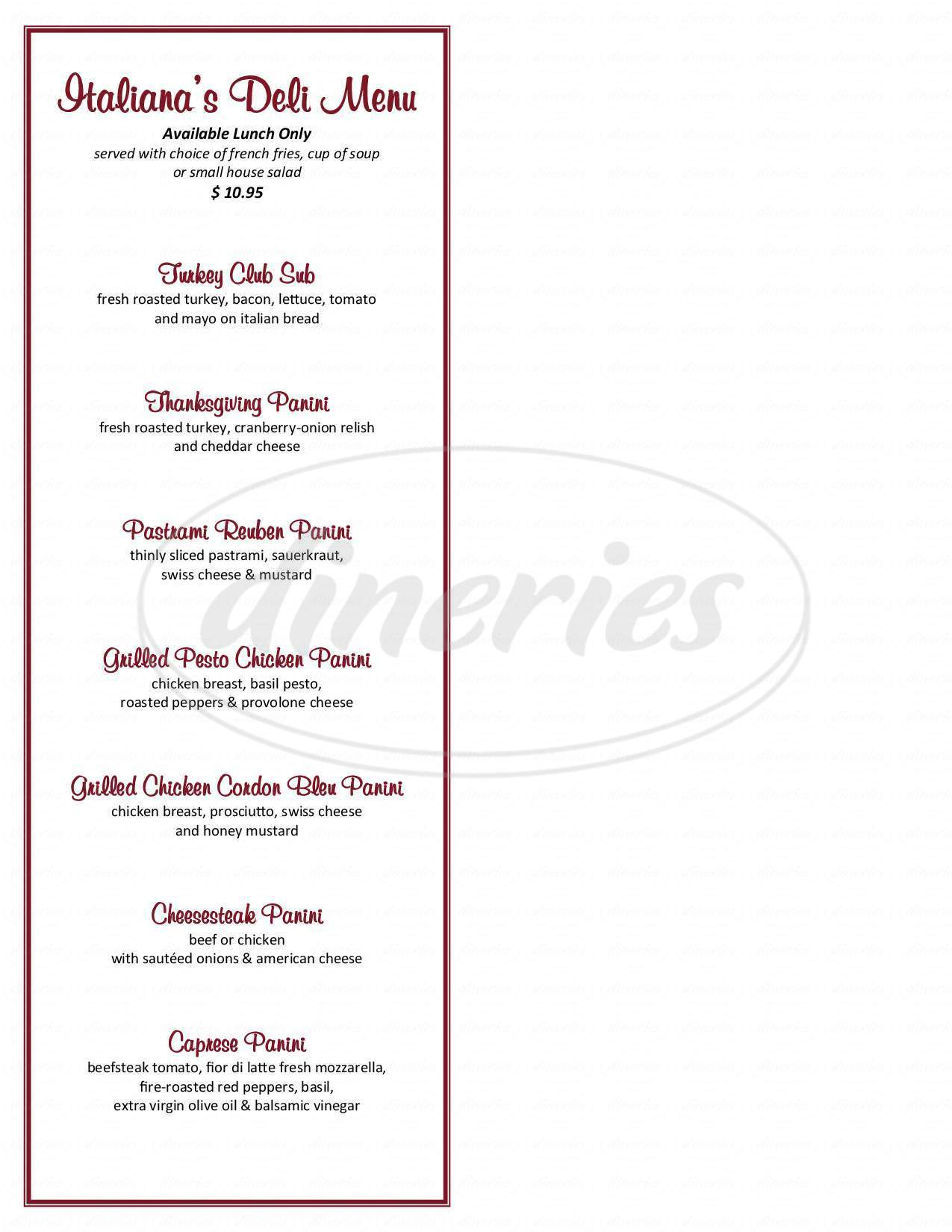 menu for Italiana's