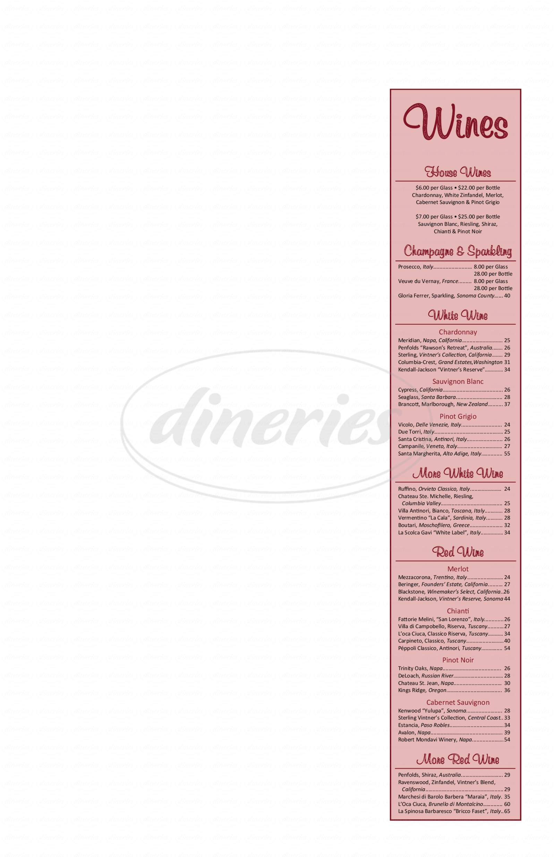 menu for Italiana's