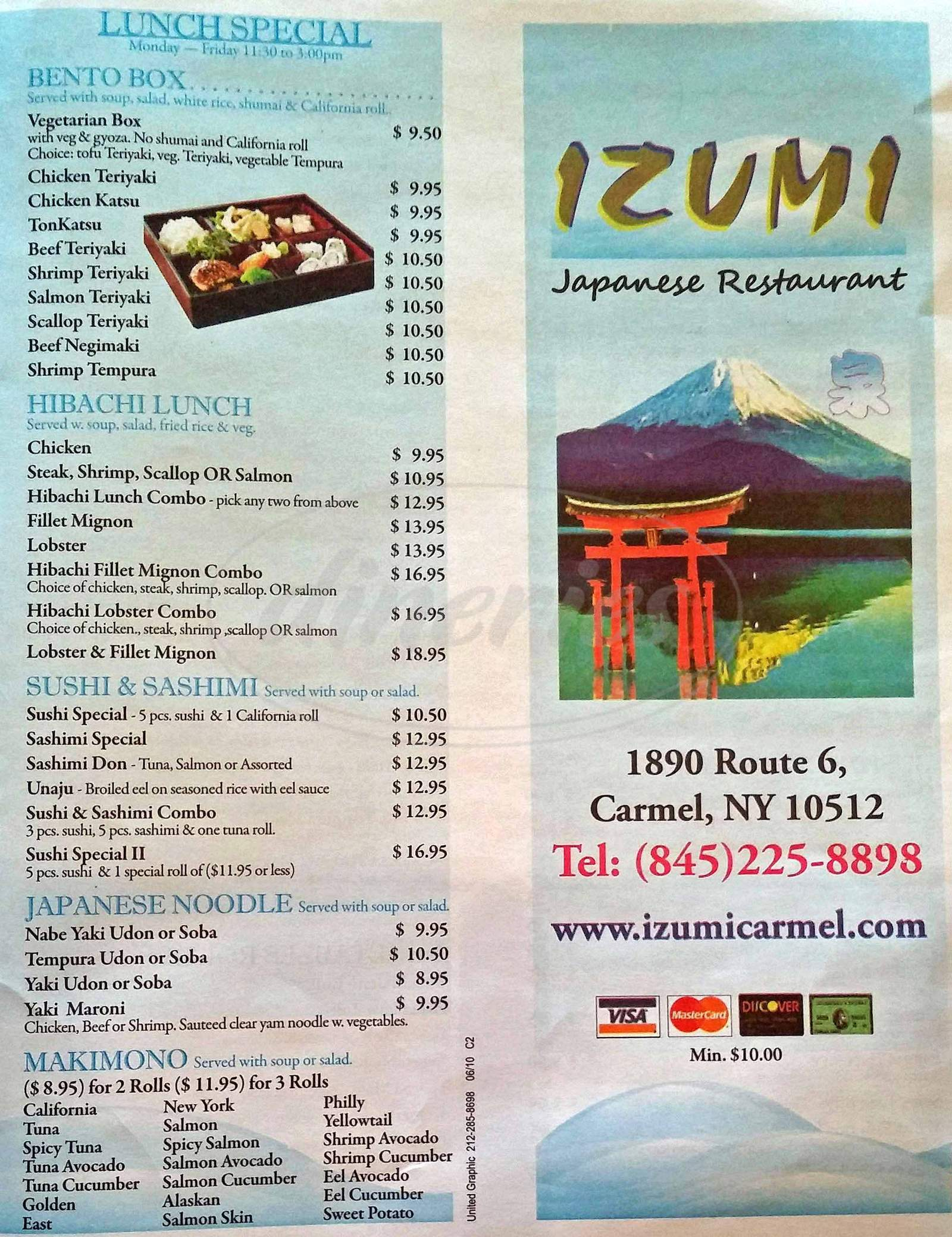menu for Izumi Japanese Restaurant