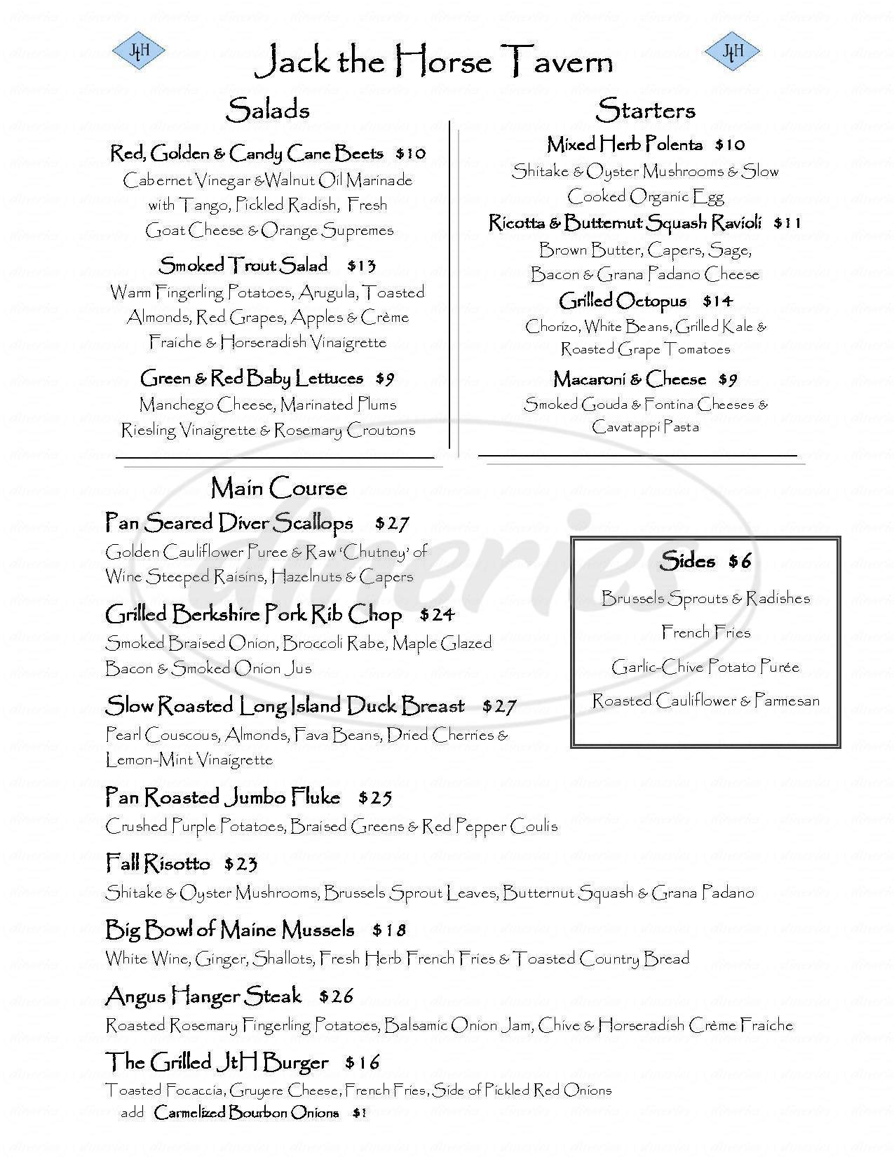 menu for Jack the Horse Tavern