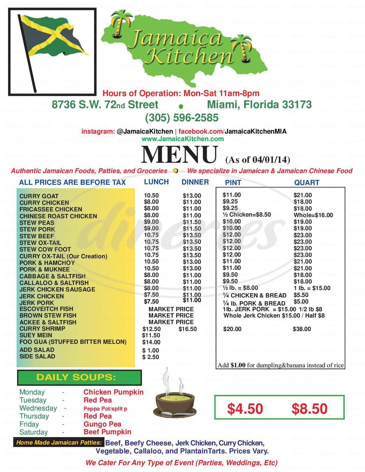 menu for Jamaica Kitchen