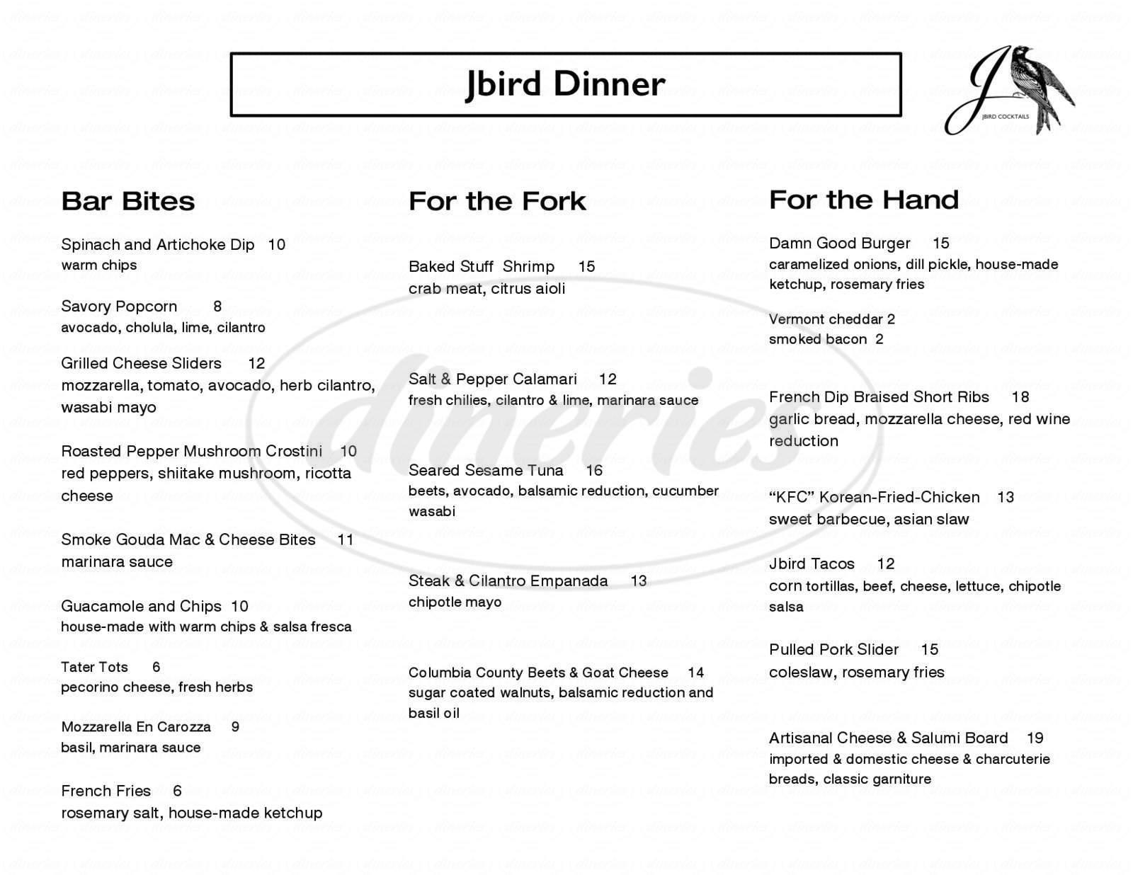 menu for Jbird