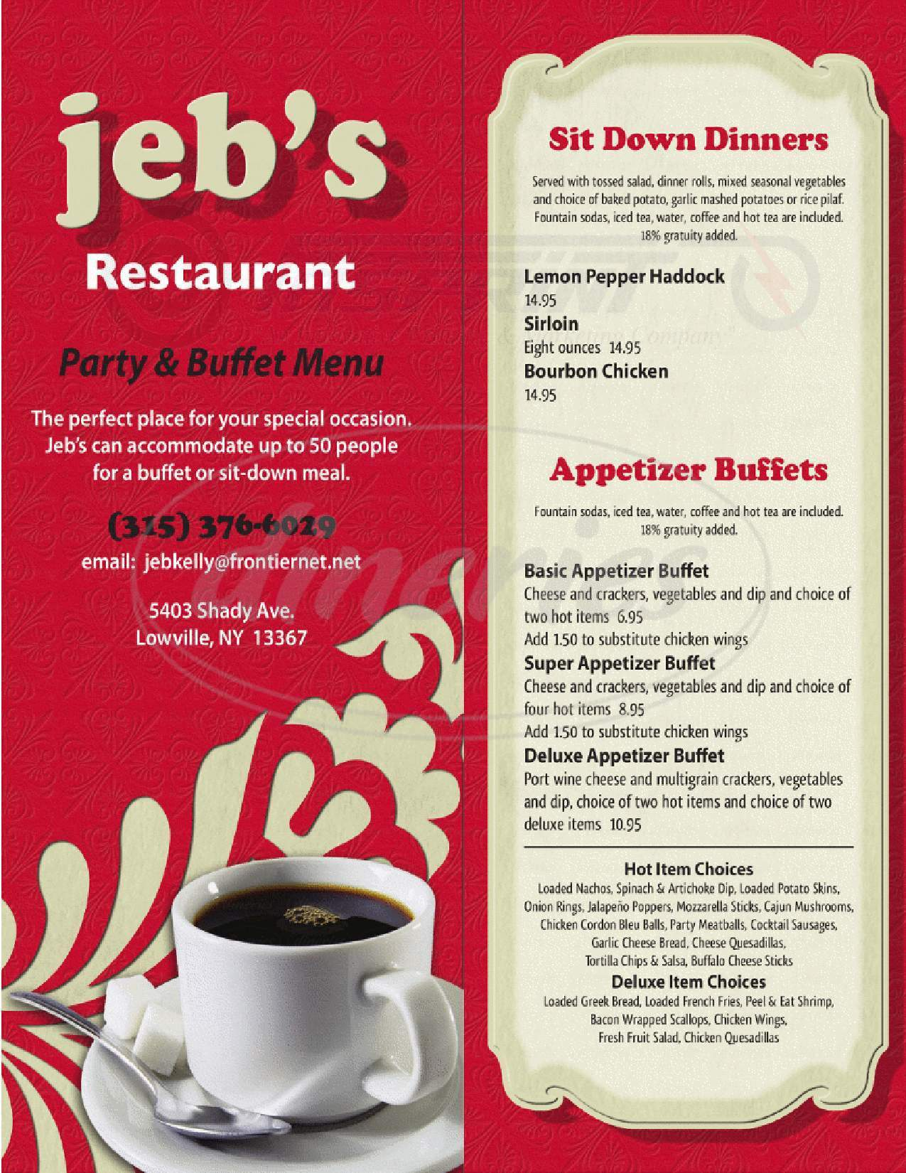 menu for jeb's Restaurant
