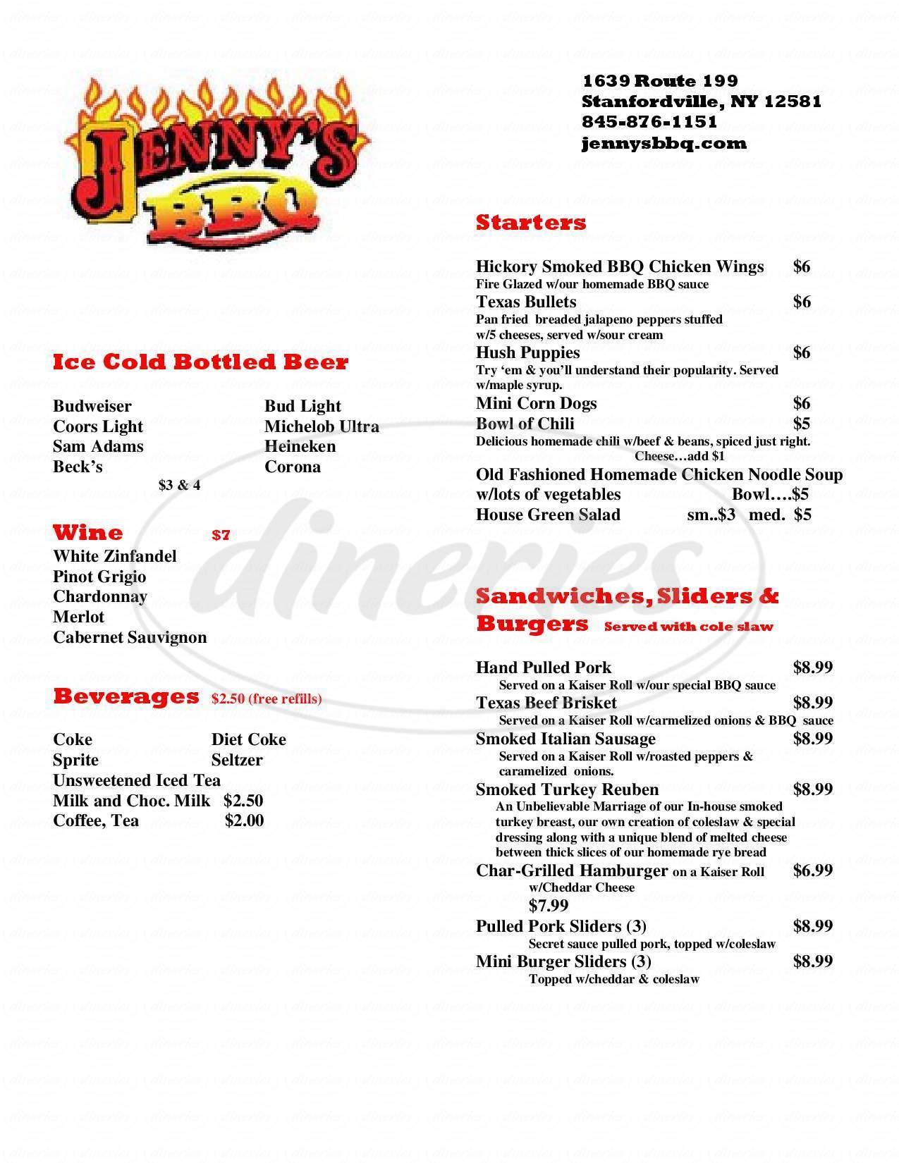 menu for Jenny's BBQ