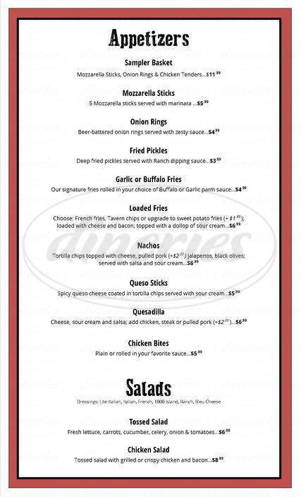 menu for Jimmie James BBQ
