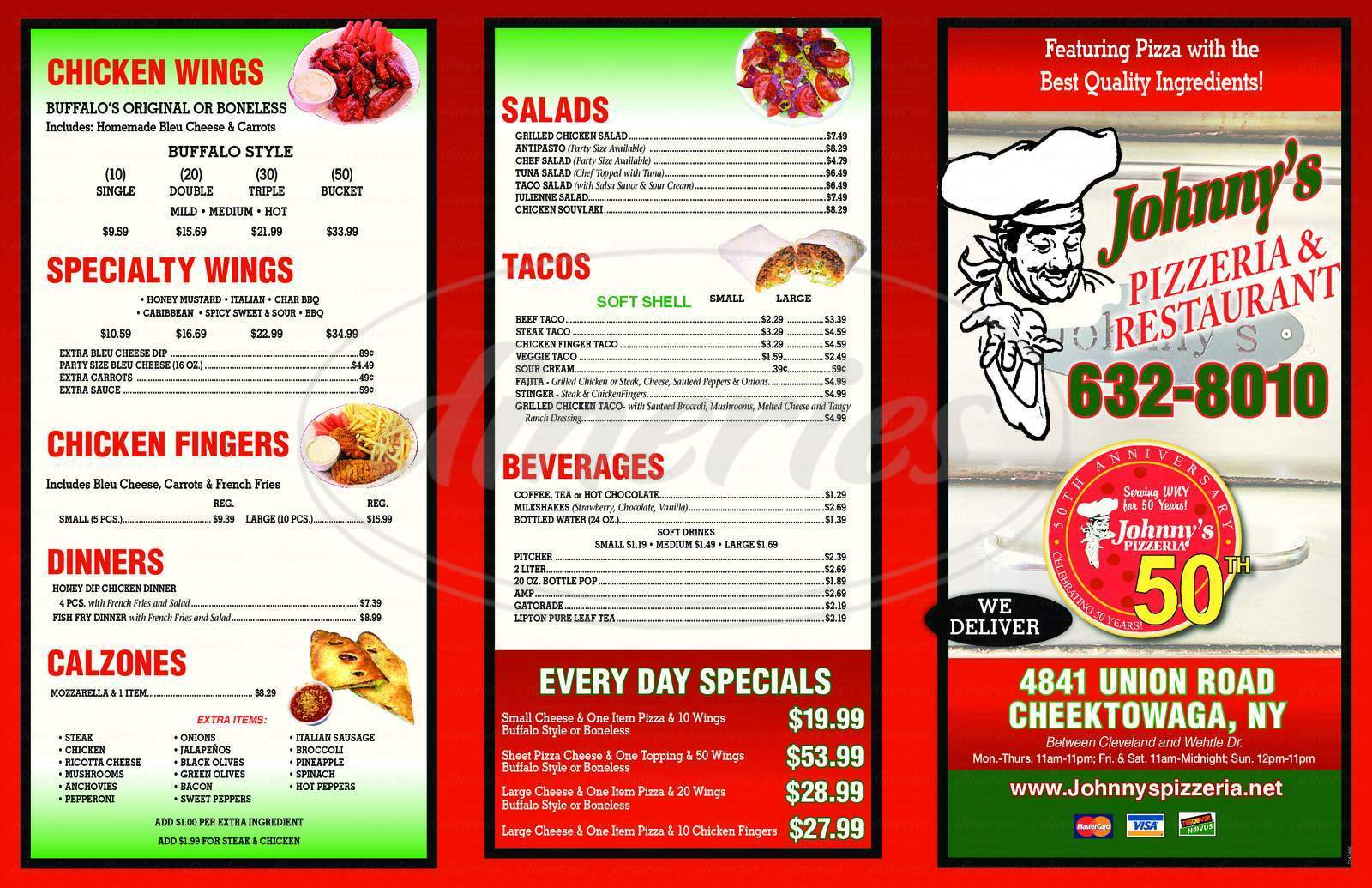 menu for Johnny's Pizzeria & Restaurant