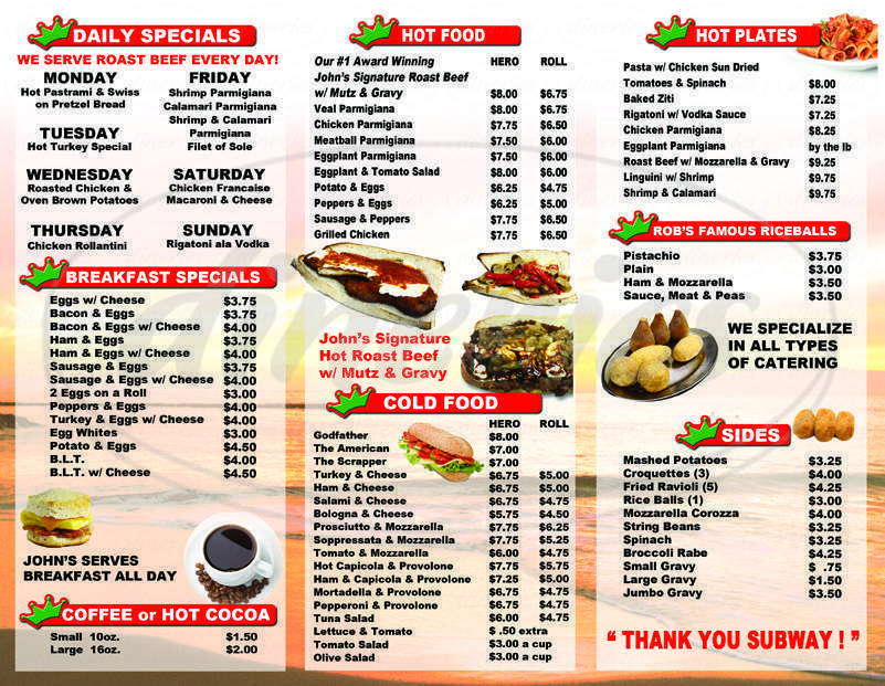 menu for Johnsdeli