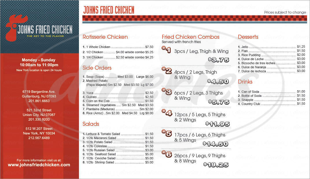menu for John's Fried Chicken