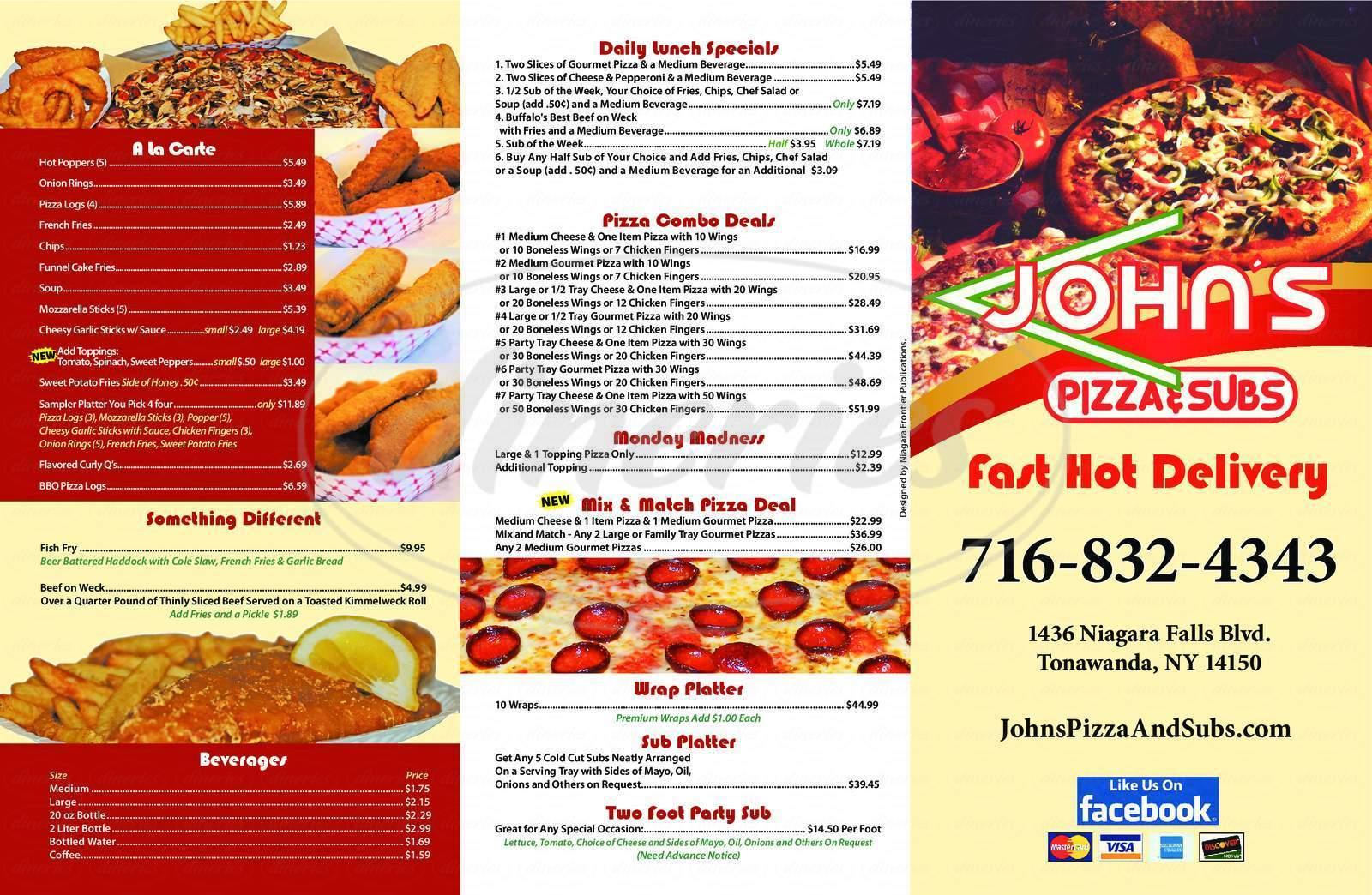 menu for John's Pizza & Sub Shop