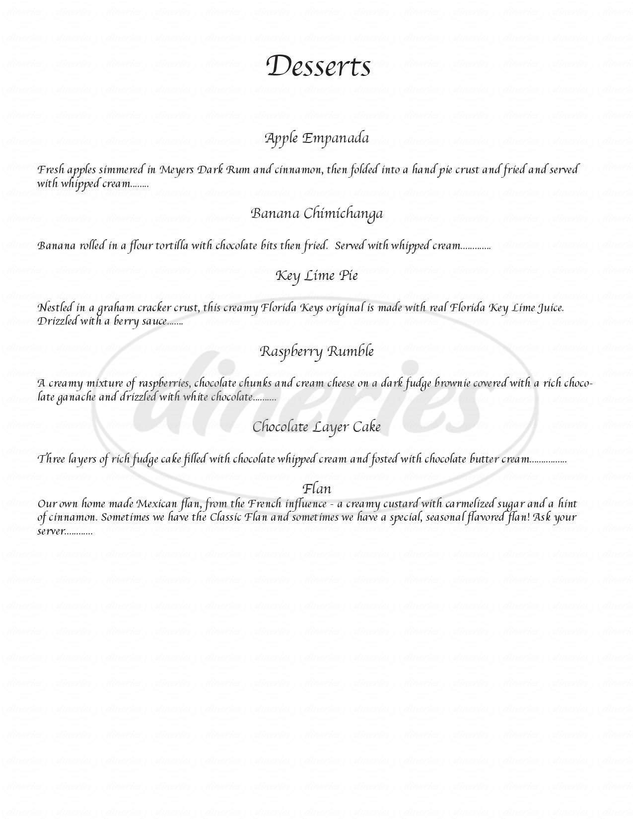 menu for Jose Malones