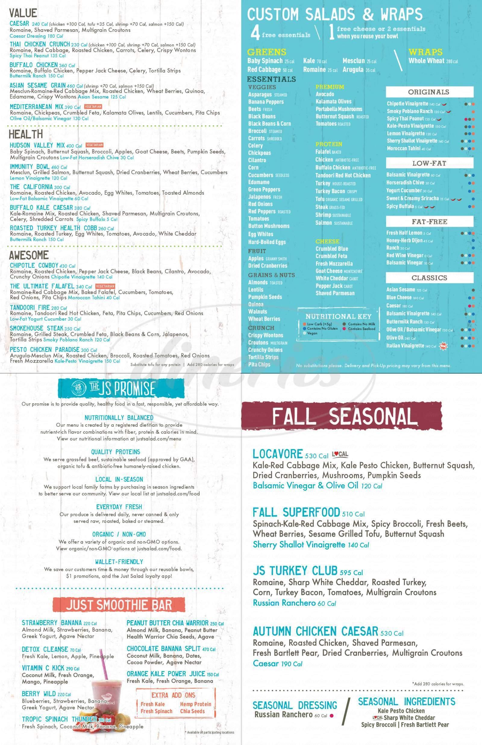 menu for Just Salad
