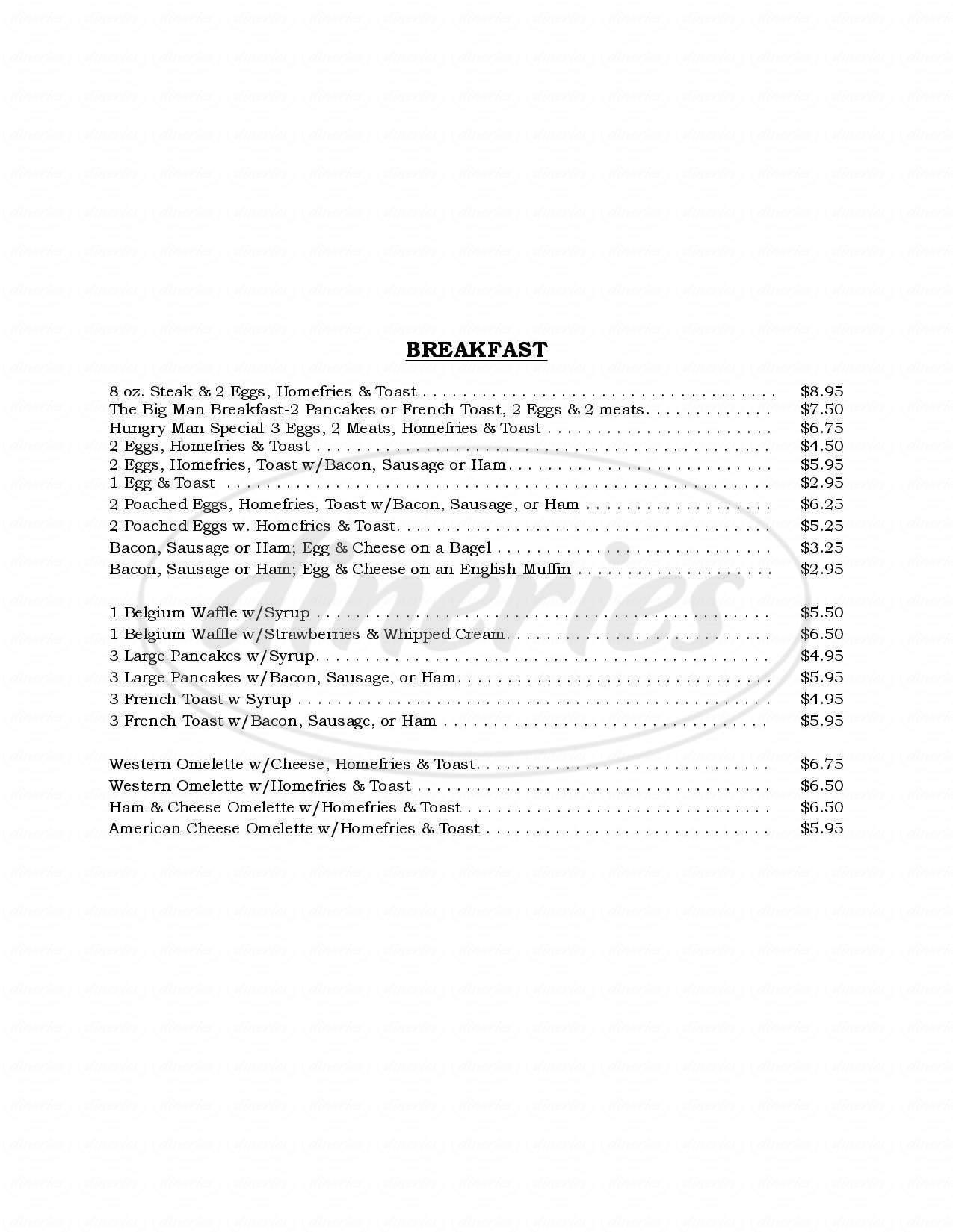 menu for KC's Corner