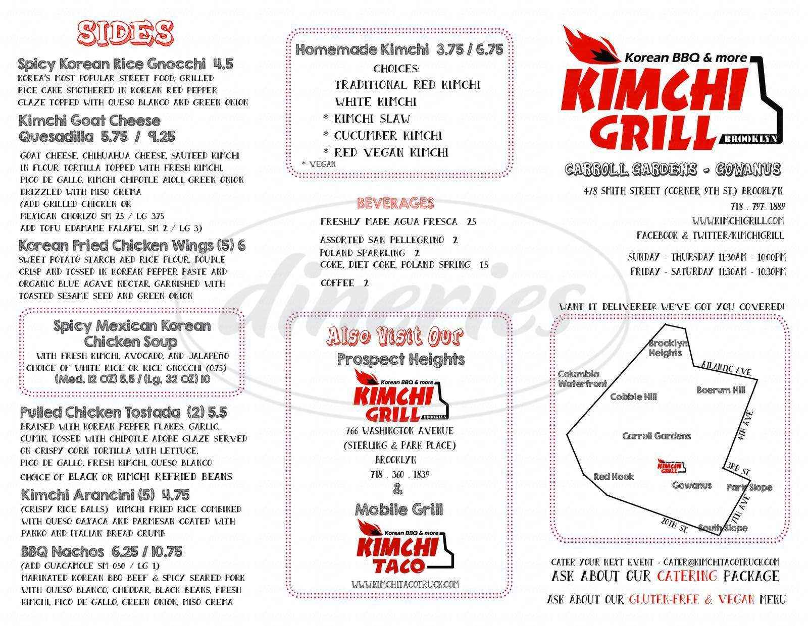 menu for Kimchi Grill