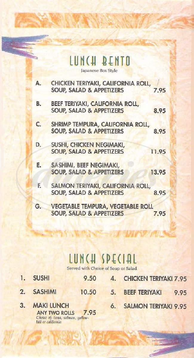 menu for Kirari Sushi