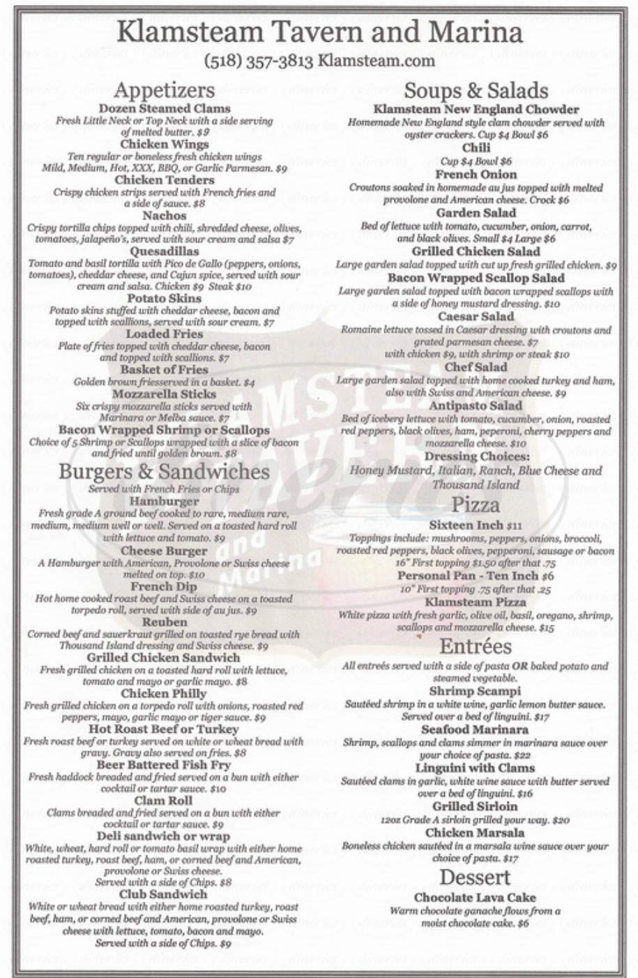 menu for Klamsteam Tavern and Marina LLC
