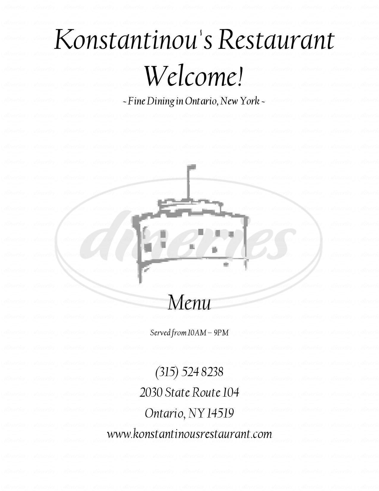 menu for Konstantinou's Restaurant