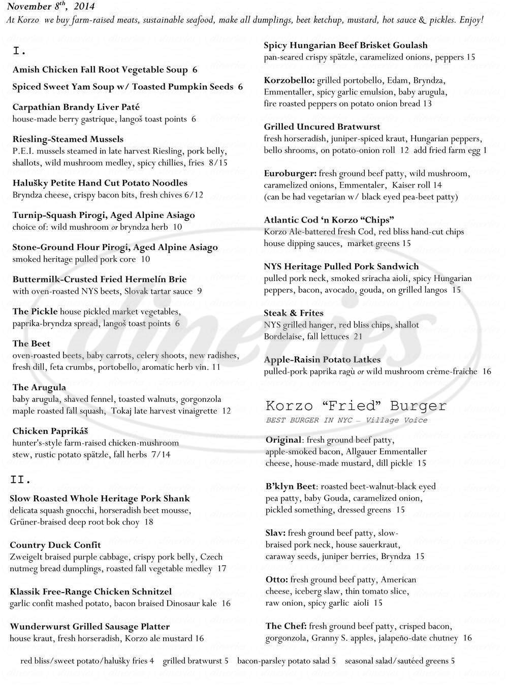 menu for Korzo Haus