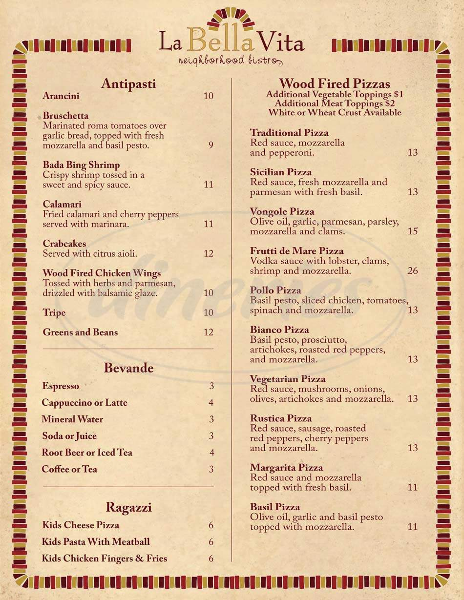 menu for La Bella Vita