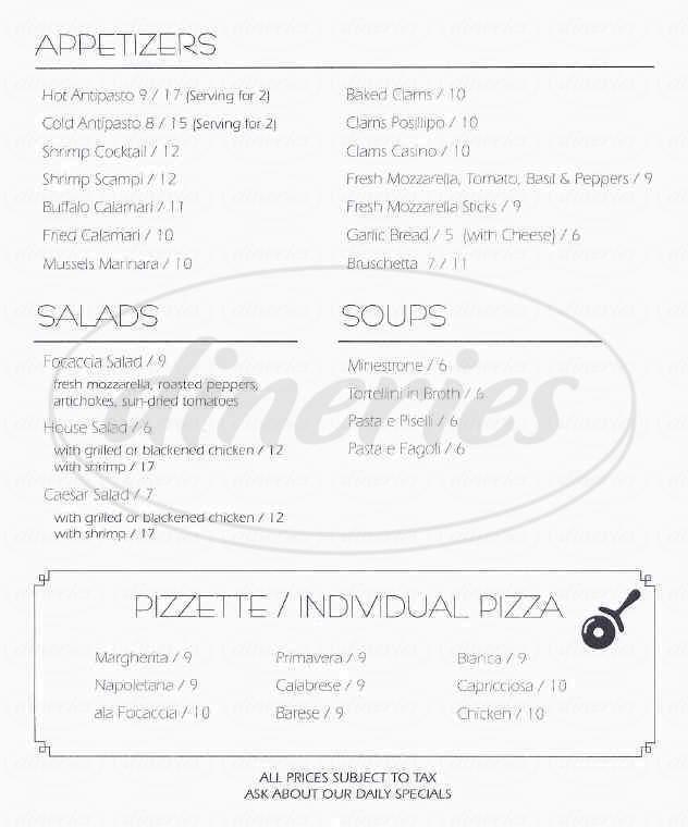 menu for La Focaccia