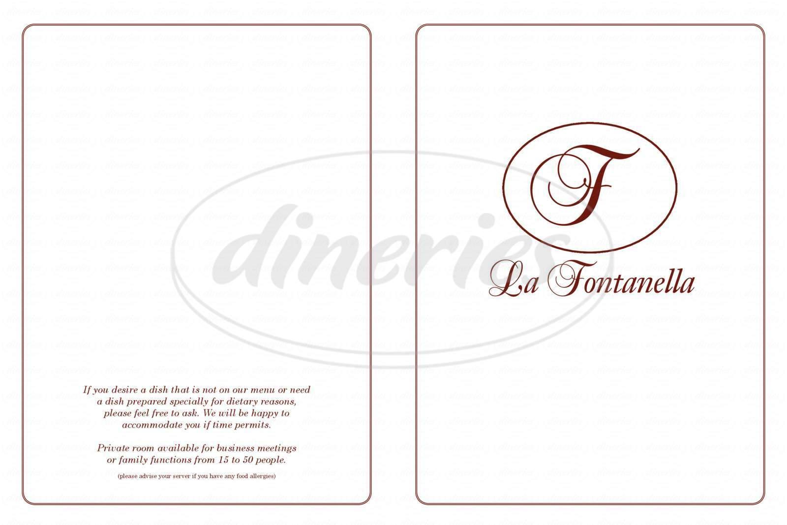 menu for La Fontanella