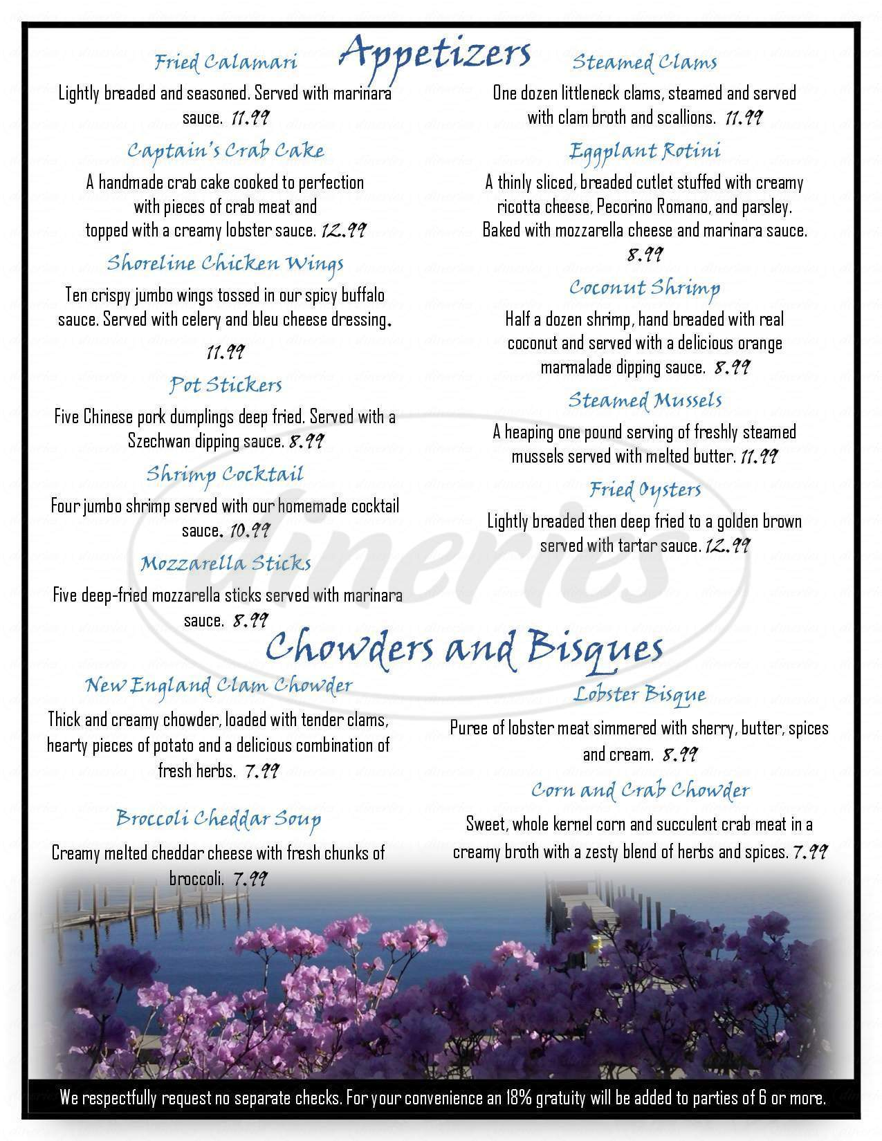 menu for Shoreline Restaurant