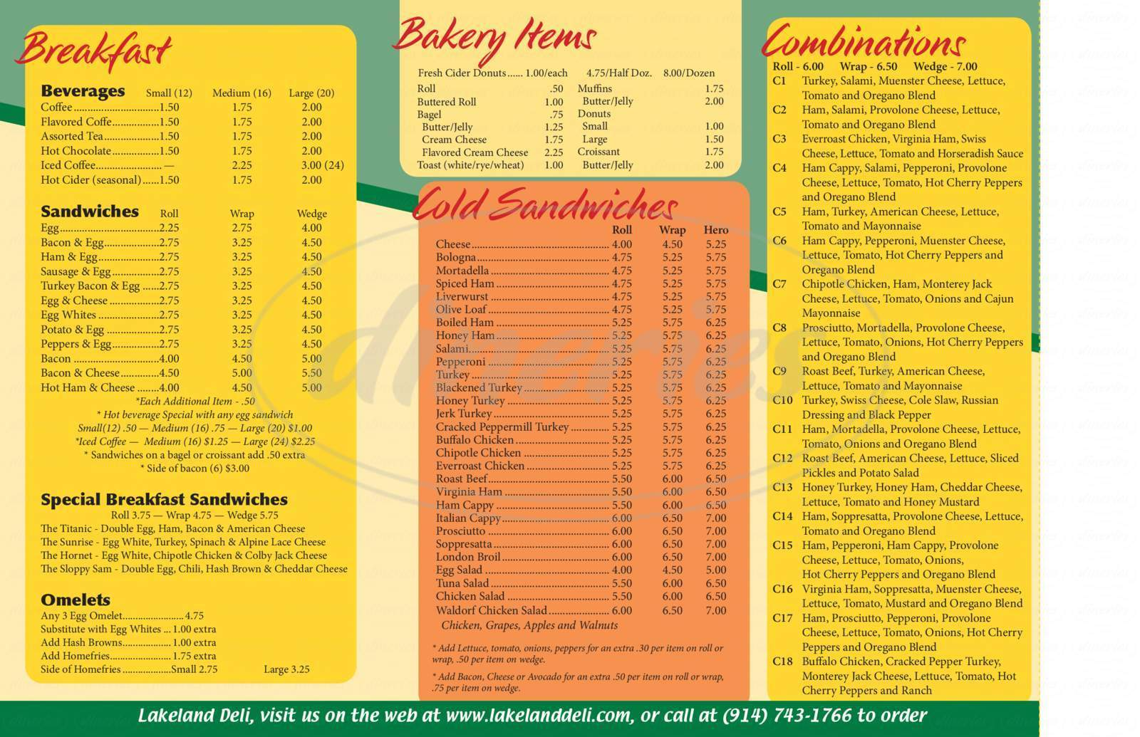 menu for Lakeland Deli