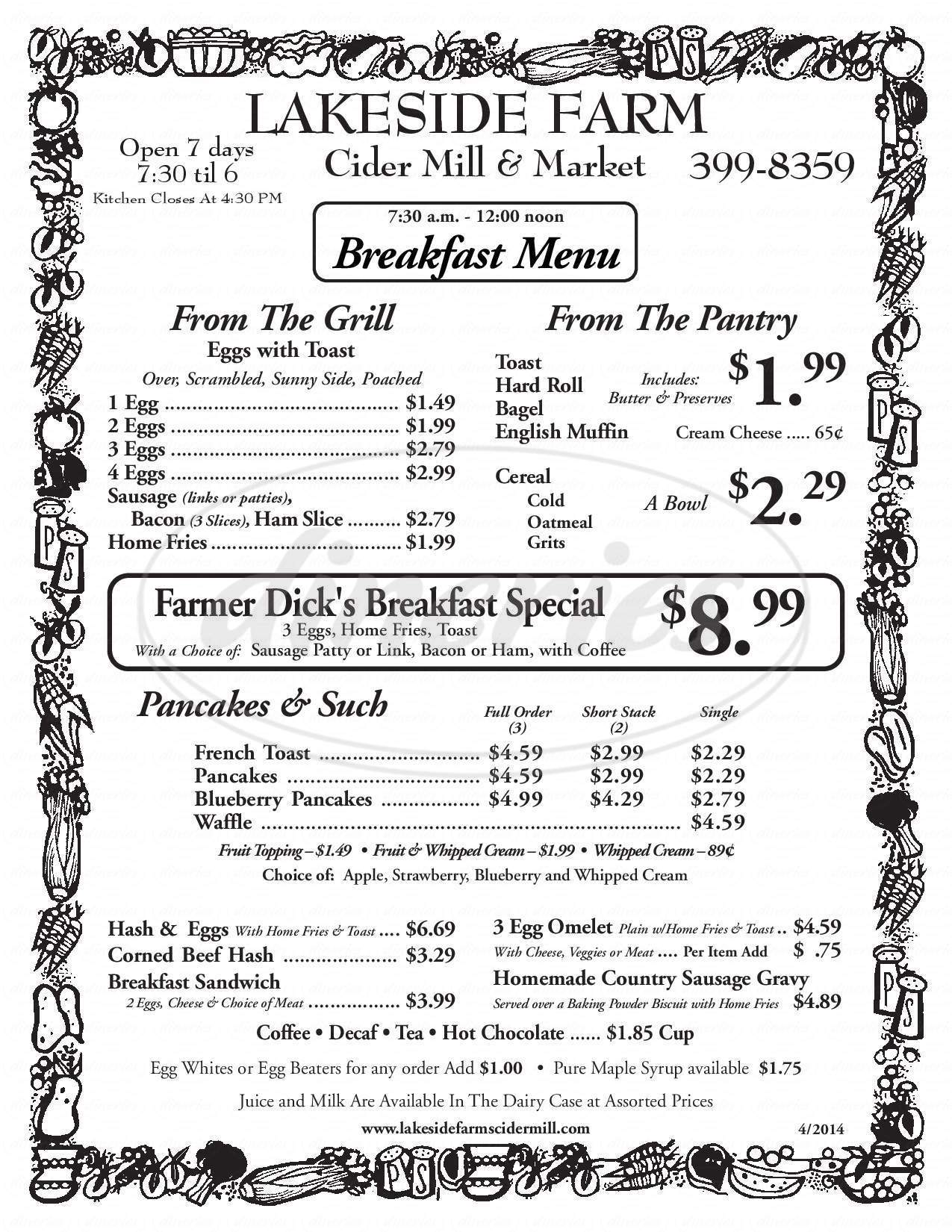 menu for Lakeside Farm