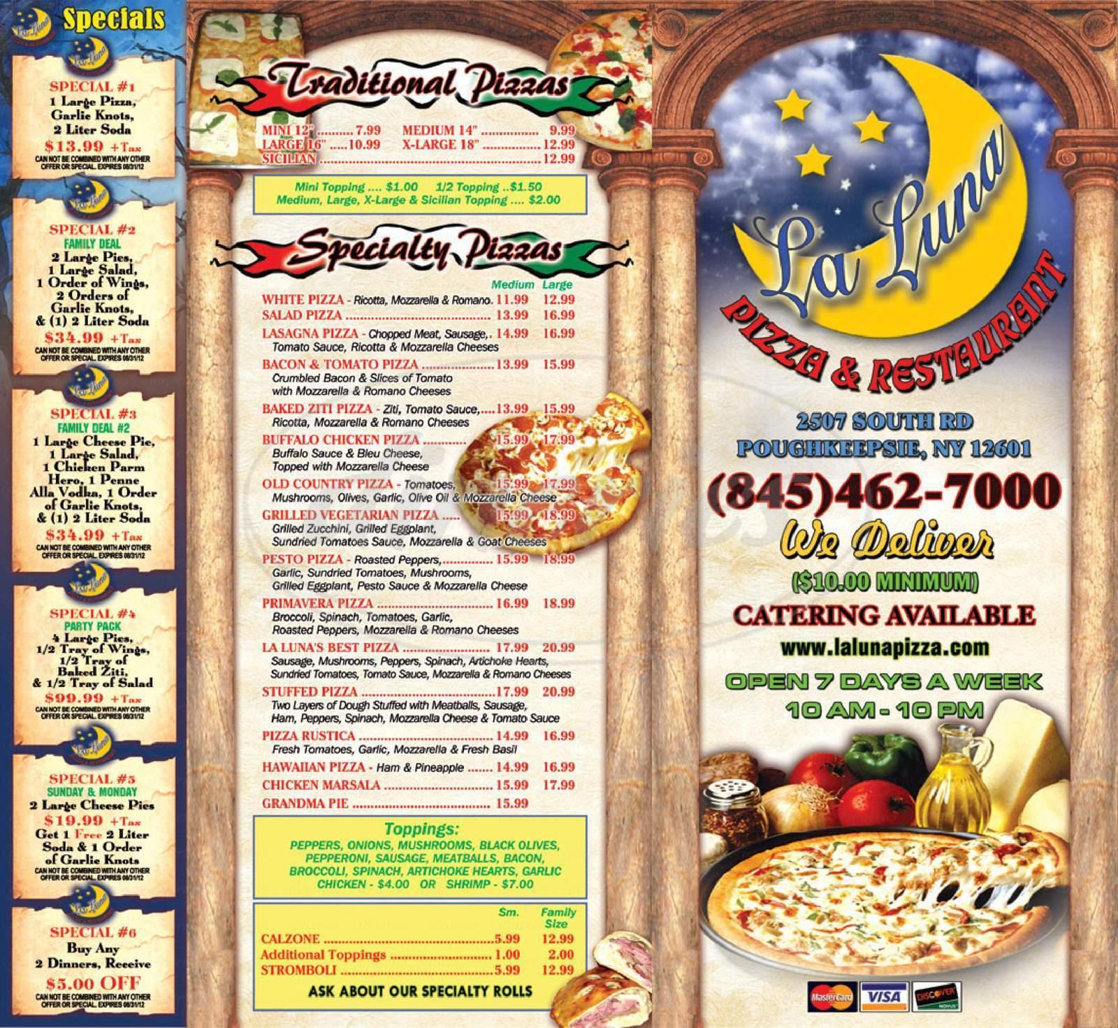 menu for La Luna Pizza Restaurant