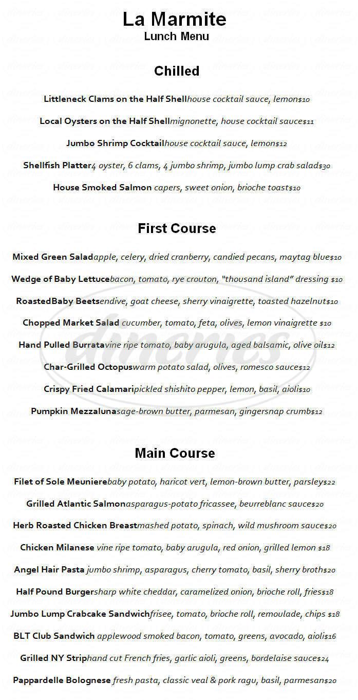 menu for La Marmite