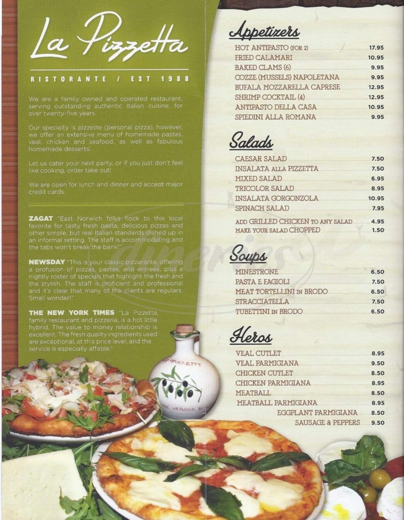 menu for La Pizzetta