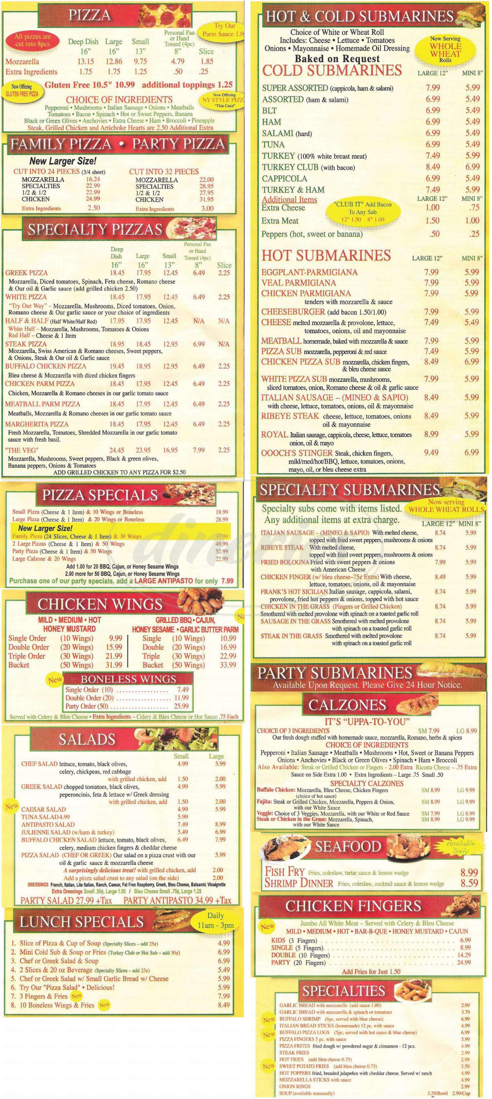 menu for La Portas Pizzeria