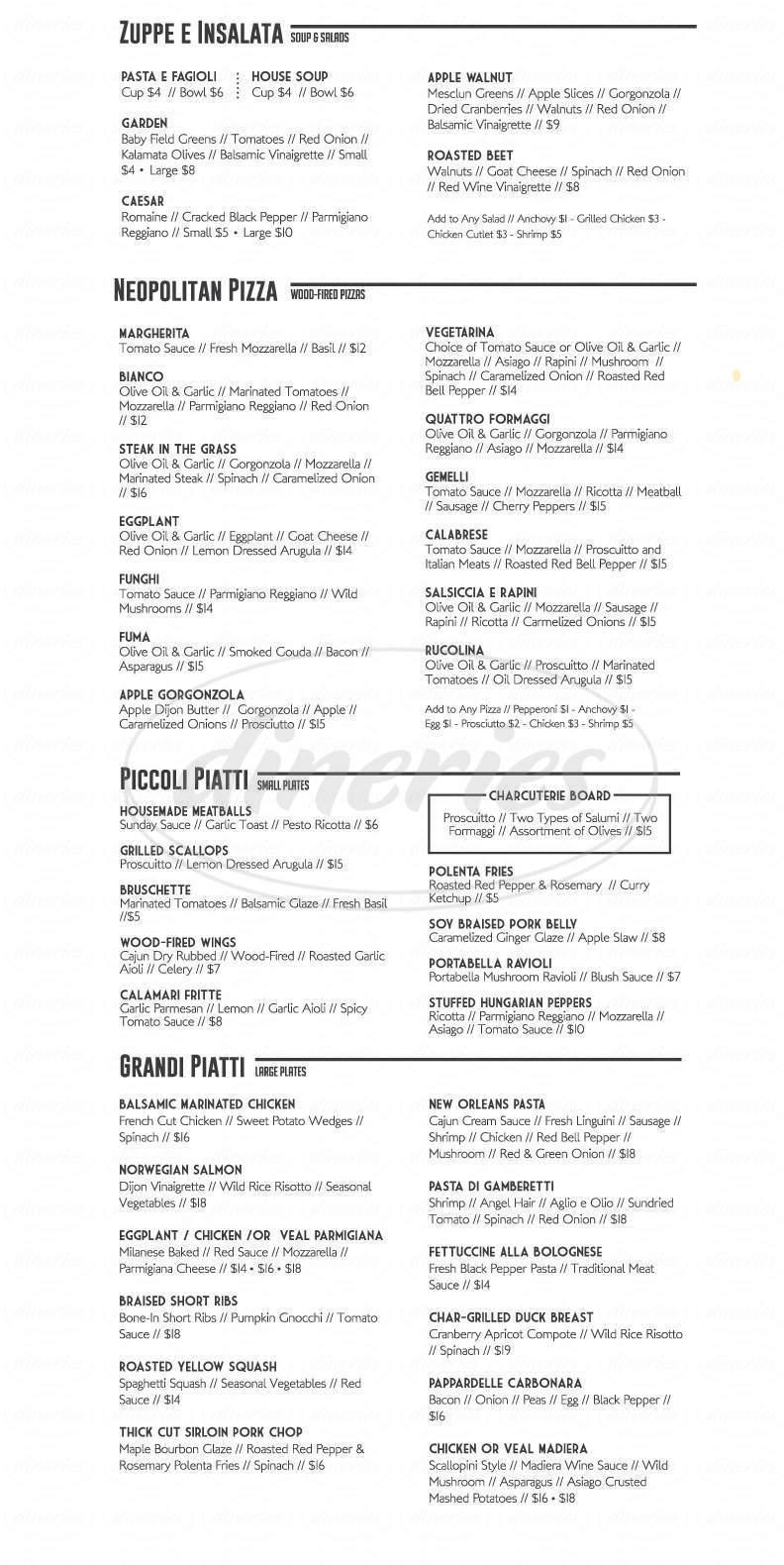 menu for La Tavola Trattoria