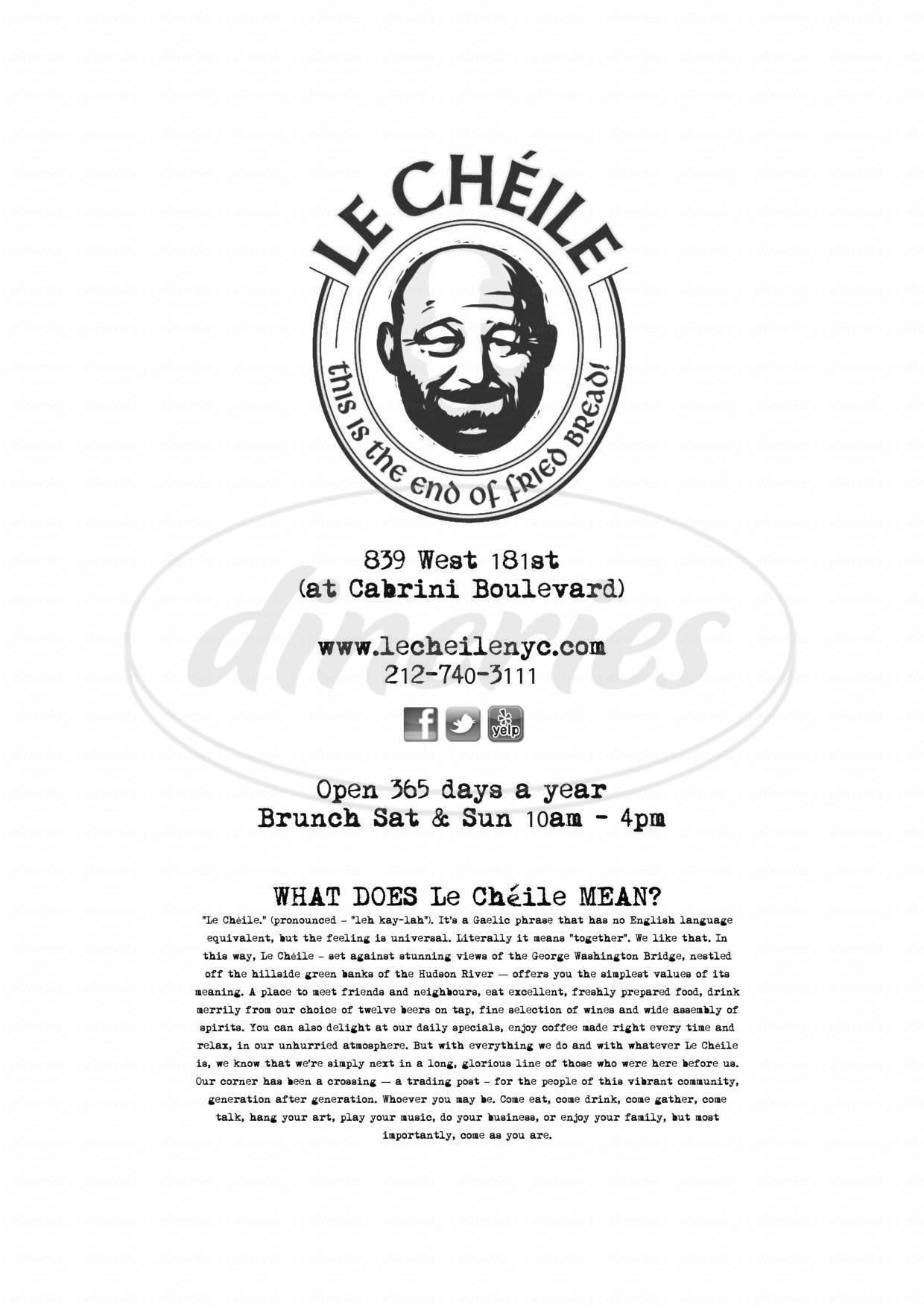 menu for Le Chéile