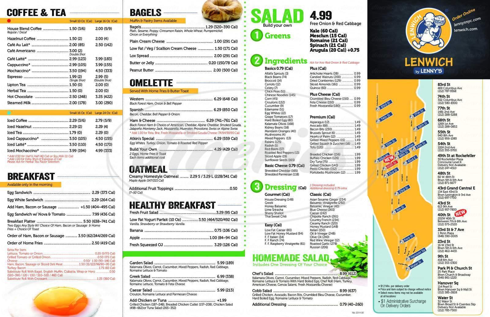 menu for Lenny's