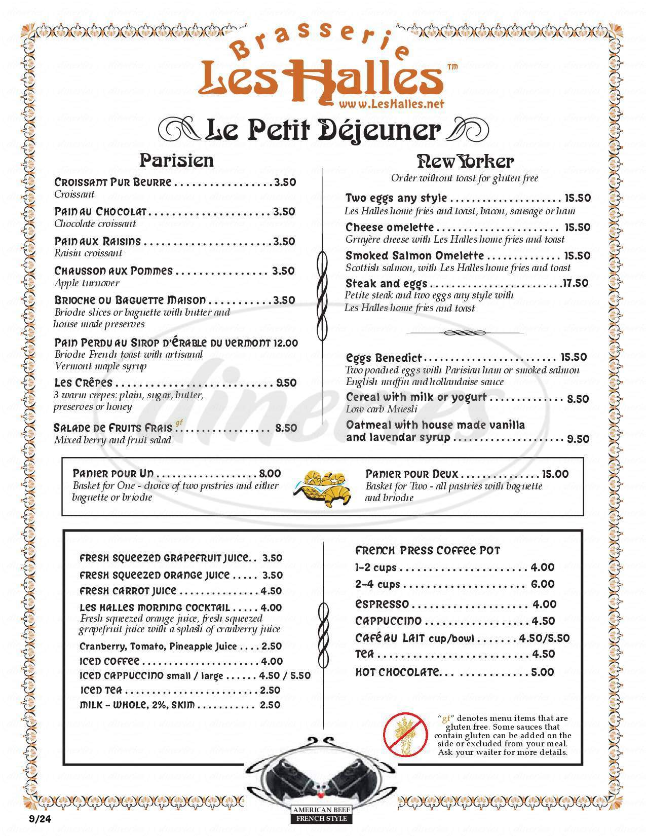 menu for Les Halles