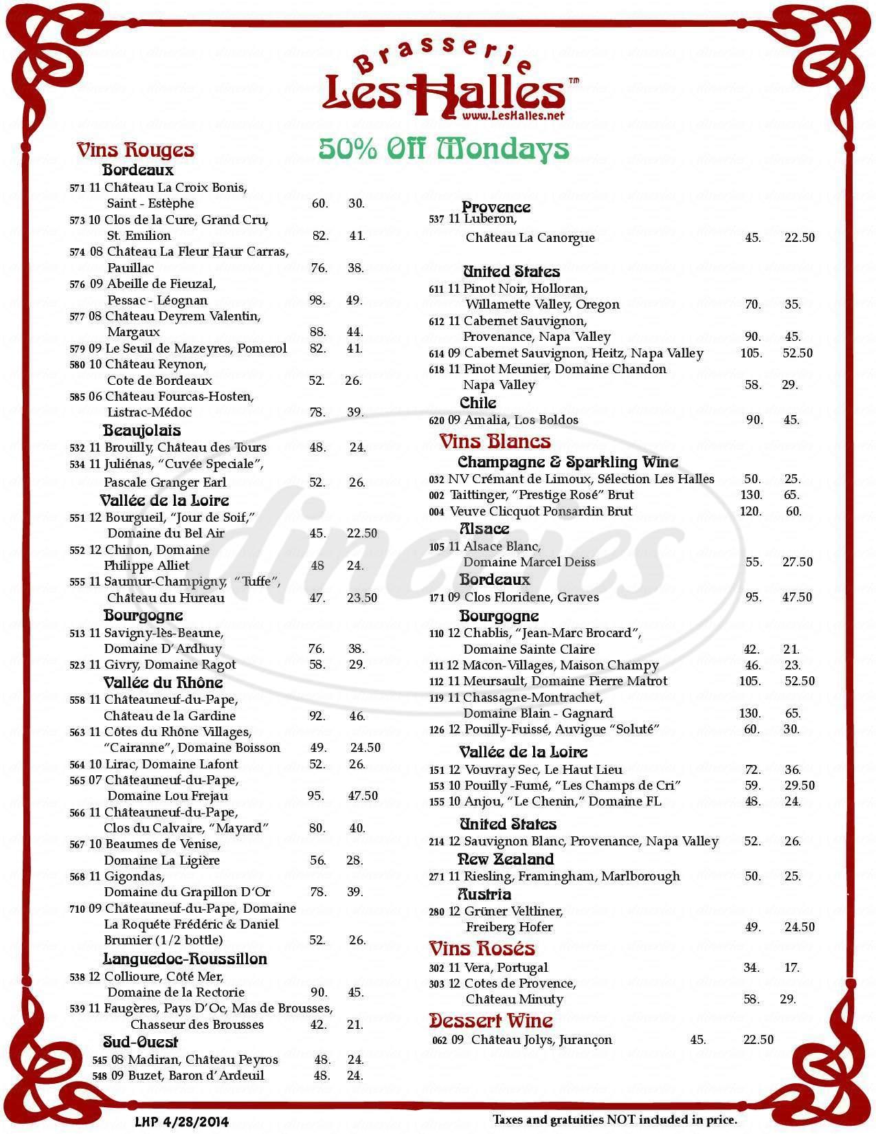 menu for Les Halles