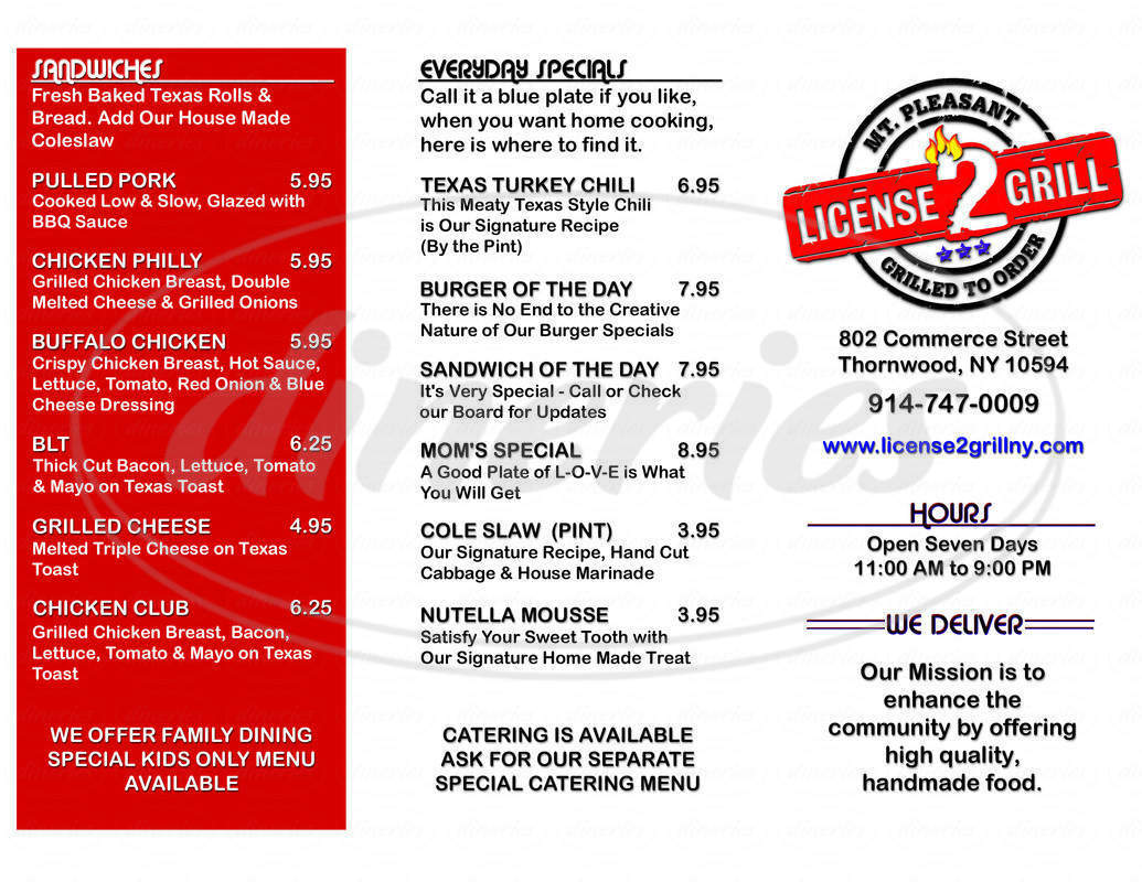 menu for License 2 Grill