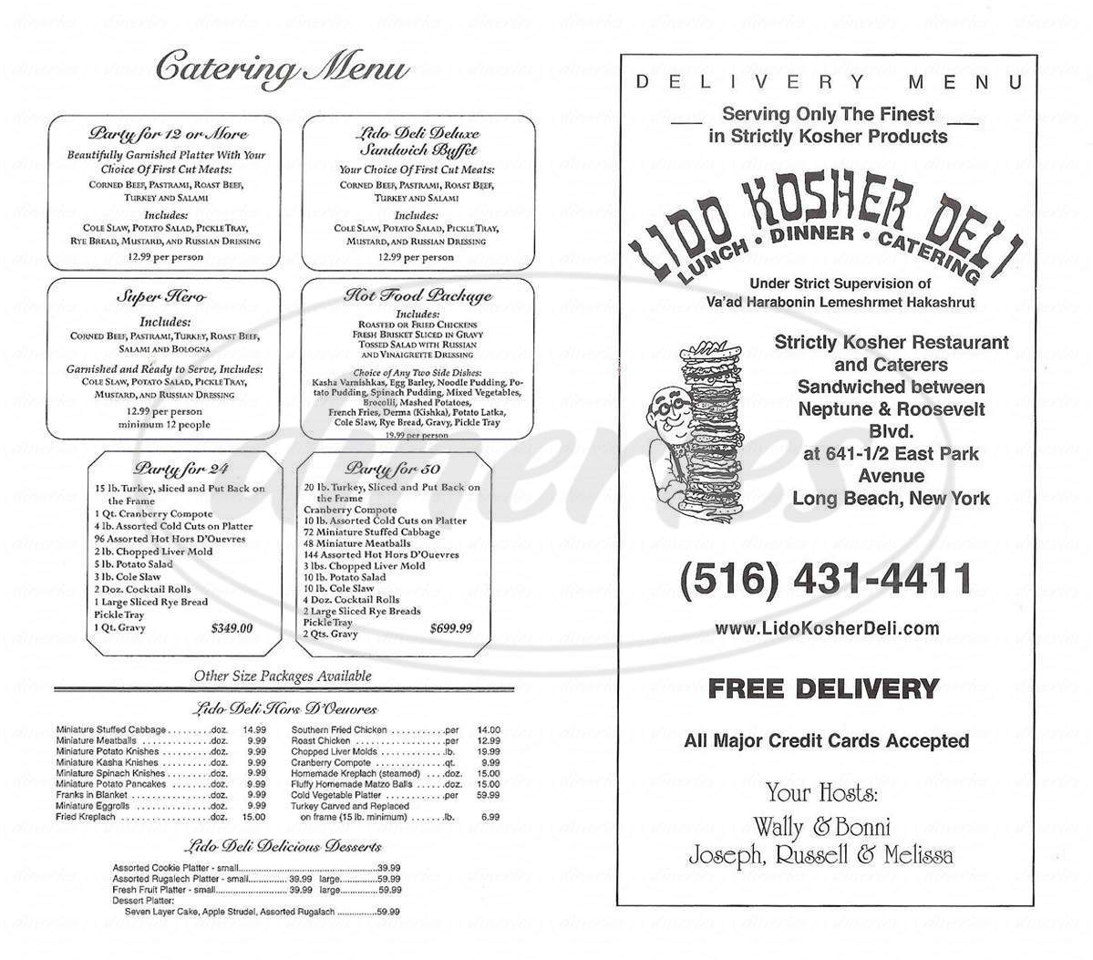menu for Lido Kosher Deli