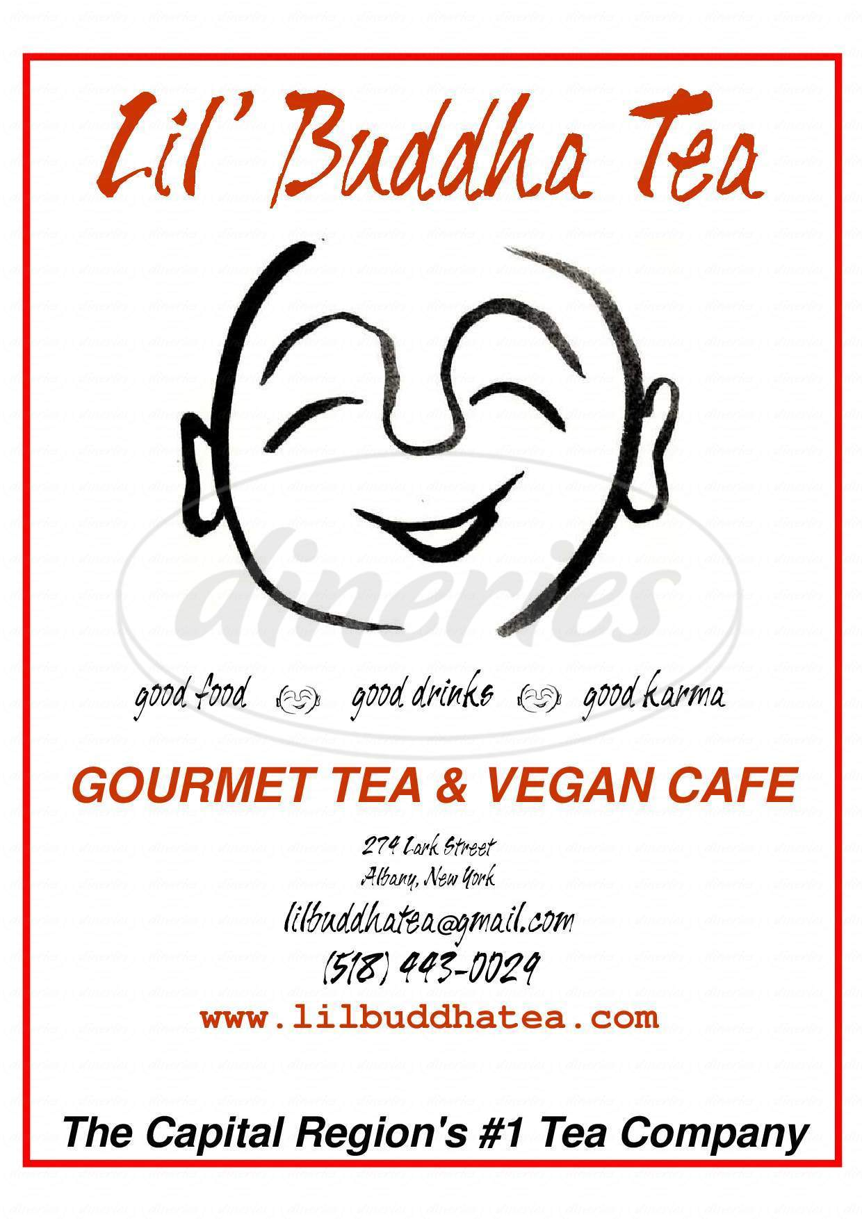 menu for Lil Buddha Tea Company & Vegan Cafe