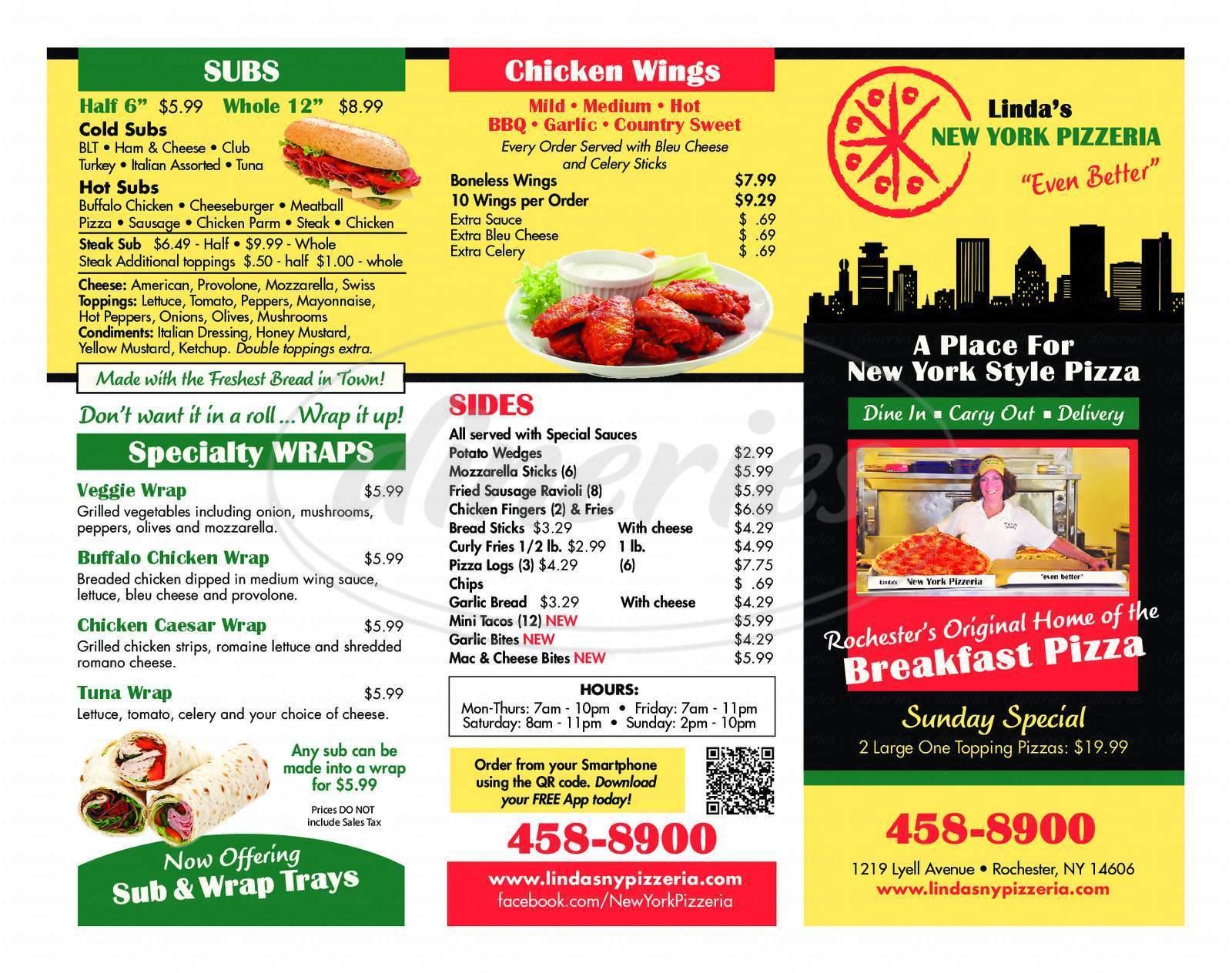 menu for Linda's New York Pizzeria