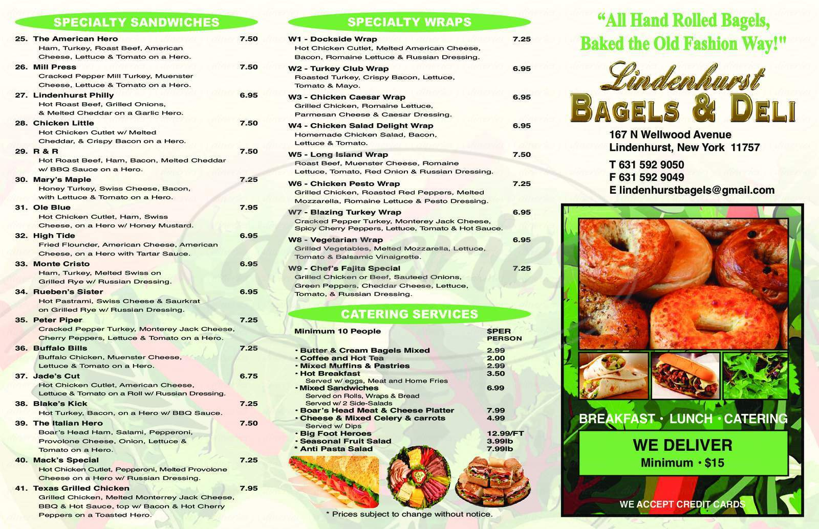 menu for Lindenhurst Bagels and Deli